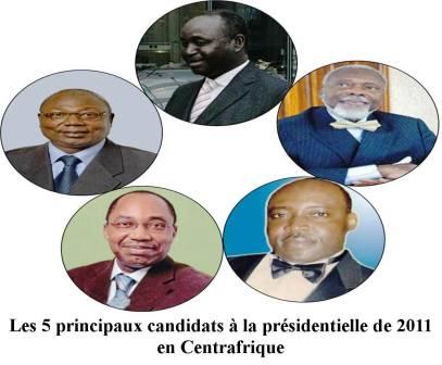 6 candidats à la présidentielle de janvier 2011 en République centrafricaine